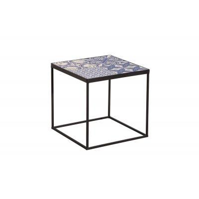 Mozaik mintázató dohányzóasztal kerettel, fehér-kék - CASABLANCA